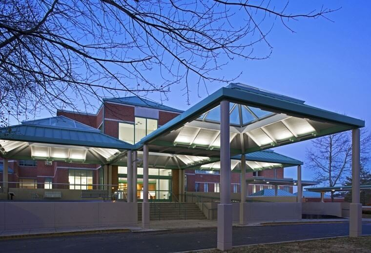 Mount Washington Pediatric Hospital Inpatient Renovation-Ped-Inpatient_exterior_main-entry-at-dusk