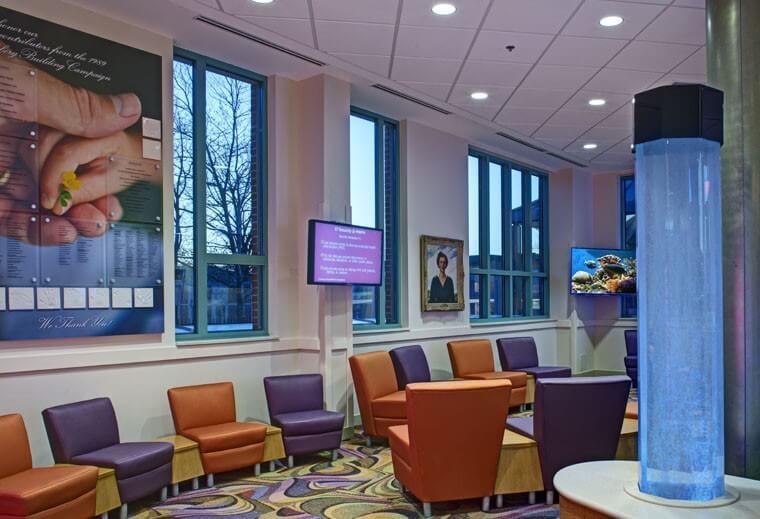 Mount Washington Pediatric Hospital Inpatient Renovation-Ped-Inpatient_interior_lobby-seating